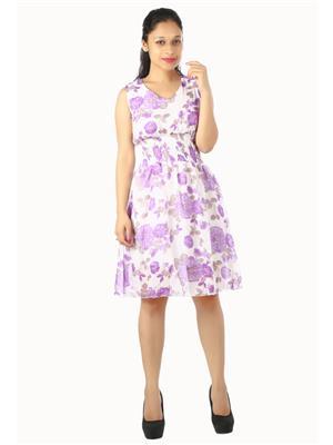 Modish Md-Grgt1003-Wt-Ppl Multicolored Women Dress