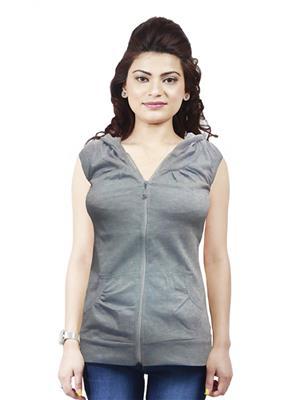 Modish Md-Tp1909-Gry Grey Women Sweatshirt