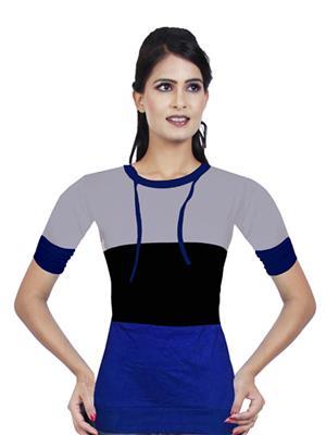 Modish Md-Tp1911-Gry-Blk-Blu Multicolored Women T-Shirt