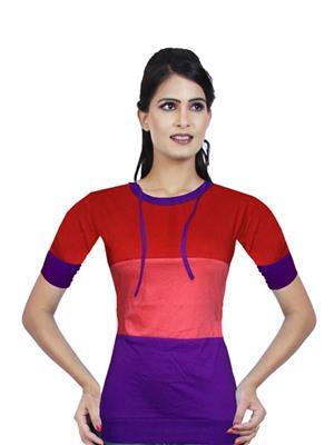 Modish Md-Tp1911-Rd-Pnk-Ppl Multicolored Women T-Shirt
