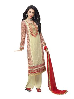 M D Creation Mdrf1456 White Women Semi-Stitched Suit
