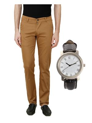 Ansh Fashion Wear C4-WATCH Beige Men Jeans With Watch