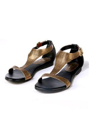 PrideS Walk Metallicplatform01 Gold-Black Women Sandal