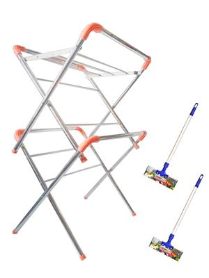 SBI MiniStar Cloth Drying Stand and Bright Stainless Steel Floor Wiper( combo of 2 X 2 Feet)