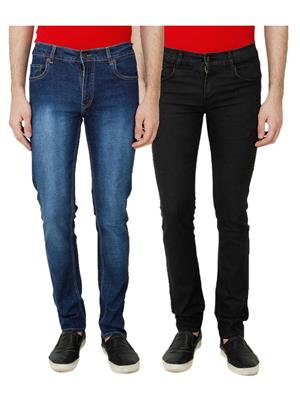 Ansh Fashion Wear MJ-1243-C-1-BLK Multicolored Men Jeans Set Of 2