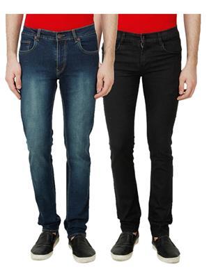 Ansh Fashion Wear MJ-1243-C-4-BLK Multicolored Men Jeans Set Of 2