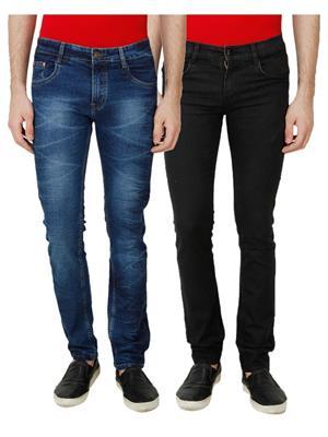 Ansh Fashion Wear MJ-1243-MB-BLK Multicolored Men Jeans Set Of 2