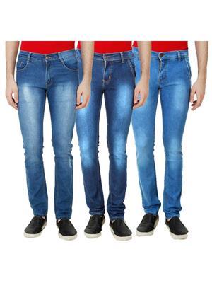 Ansh Fashion Wear Mj-3Cm-R-Jen-140 Blue Men Jeans Set Of 3