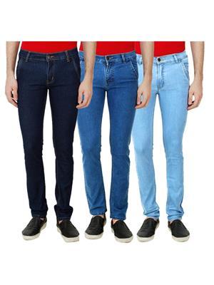 Ansh Fashion Wear Mj-3Cm-R-Jen-143 Blue Men Jeans Set Of 3