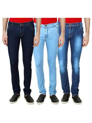 Ansh Fashion Wear Mj-3Cm-R-Jen-144 Blue Men Jeans Set Of 3