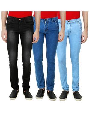 Ansh Fashion Wear Mj-3Cm-R-Jen-14 Multicolored Men Jeans Set Of 3
