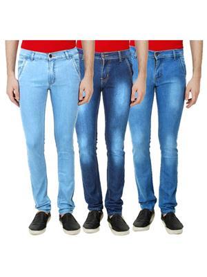 Ansh Fashion Wear Mj-3Cm-R-Jen-154 Blue Men Jeans Set Of 3