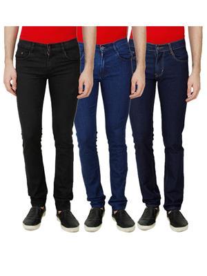 Ansh Fashion Wear Mj-3Cm-R-Jen-18 Multicolored Men Jeans Set Of 3