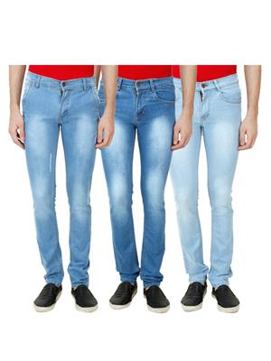Ansh Fashion Wear Mj-3Cm-R-Jen-38 Blue Men Jeans Set Of 3