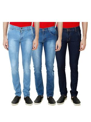 Ansh Fashion Wear Mj-3Cm-R-Jen-41 Blue Men Jeans Set Of 3