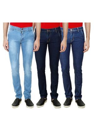 Ansh Fashion Wear Mj-3Cm-R-Jen-42 Blue Men Jeans Set Of 3