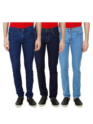 Ansh Fashion Wear Mj-3Cm-R-Jen-48 Blue Men Jeans Set Of 3