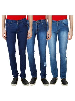 Ansh Fashion Wear Mj-3Cm-R-Jen-54 Blue Men Jeans Set Of 3