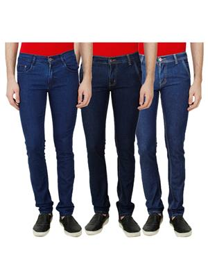 Ansh Fashion Wear Mj-3Cm-R-Jen-56 Blue Men Jeans Set Of 3