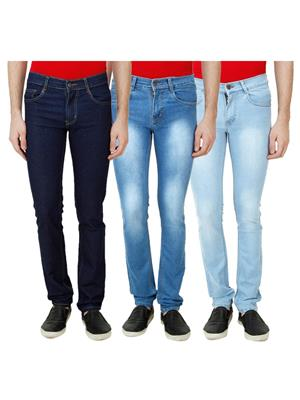 Ansh Fashion Wear Mj-3Cm-R-Jen-65 Blue Men Jeans Set Of 3