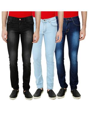 Ansh Fashion Wear Mj-3Cm-R-Jen-6 Multicolored Men Jeans Set Of 3