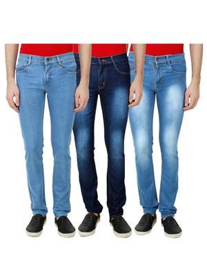 Ansh Fashion Wear Mj-3Cm-R-Jen-79 Blue Men Jeans Set Of 3