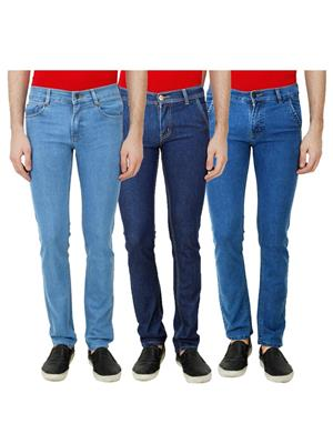 Ansh Fashion Wear Mj-3Cm-R-Jen-85 Blue Men Jeans Set Of 3