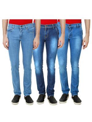 Ansh Fashion Wear Mj-3Cm-R-Jen-88 Blue Men Jeans Set Of 3