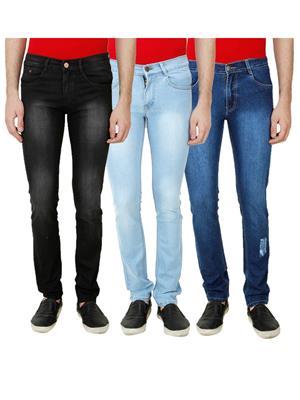 Ansh Fashion Wear Mj-3Cm-R-Jen-9 Multicolored Men Jeans Set Of 3