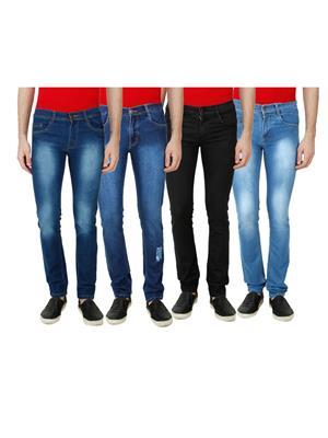 Ansh Fashion Wear MJ-4CM-D1 Multicolored Men Jeans Set Of 4