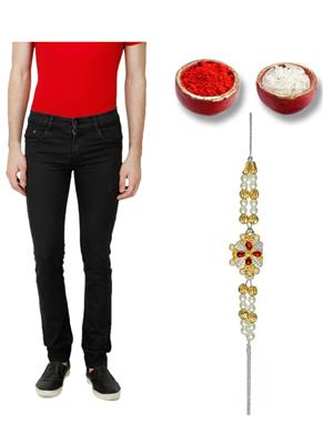 Ansh Fashion Wear MJ-BLK-RKH Black Men Jeans With Rakhi