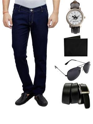 Ansh Fashion Wear MJ-CROSS-CP1-WPBS Blue Men Jeans Combo Of Belt,Sunglass,Wallet,Watch