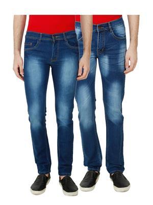 Ansh Fashion Wear MJ-D1-D4 Multicolored Men Jeans Set Of 2