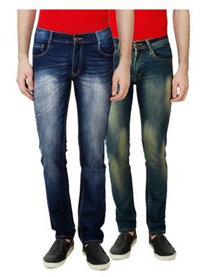 Ansh Fashion Wear MJ-D10-D5 Multicolored Men Jeans Set Of 2