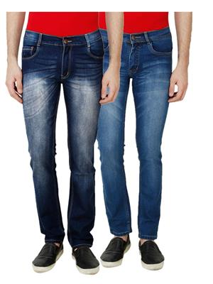 Ansh Fashion Wear MJ-D10-D6 Multicolored Men Jeans Set Of 2
