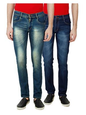 Ansh Fashion Wear MJ-D18-D14 Multicolored Men Jeans Set Of 2