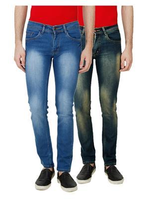 Ansh Fashion Wear MJ-D9-D5 Multicolored Men Jeans Set Of 2