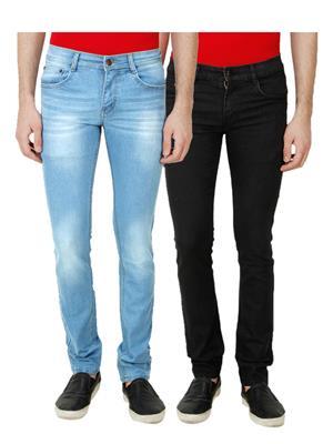 Ansh Fashion Wear MJ-RMW-3-BLK Multicolored Men Jeans Set Of 2