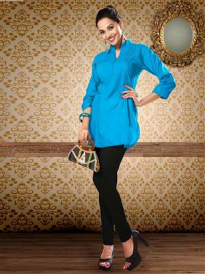 Manjaree PLEATS-05 Blue Women Kurti