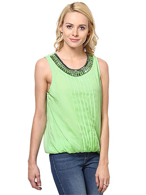Rose Vanessa RS 048 Stone Embellished Green Top