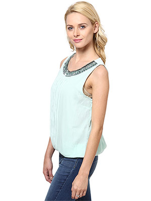 Rose Vanessa RS 079 Stone Embellished Blue Top