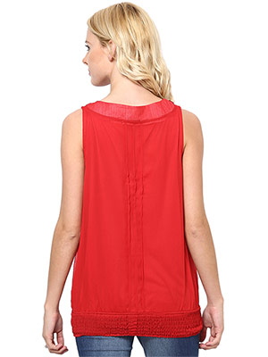 Rose Vanessa RS 080 Stone Embellished Red Top