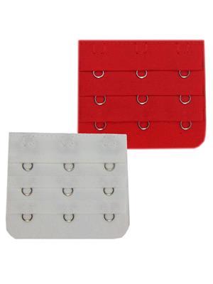 Muquam Muq-Be-N-3-C-Wh-Rd-02 Red-White Women Bra Strap Extender Set Of 2