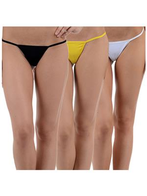 Muquam Bk-Yw-Wh-13 Multicolored Women G-String Panty Set Of 3