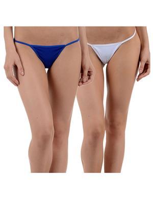 Muquam Bl-Wh-12 Blue Women G-String Panty Set Of 2