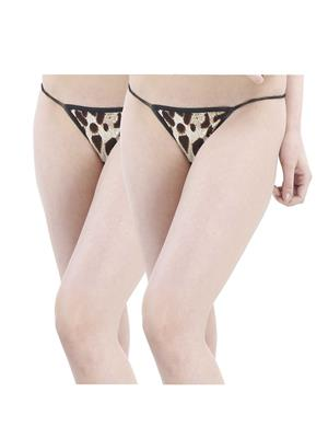 Muquam Lp-12 Leopard Women G-String Panty Set Of 2