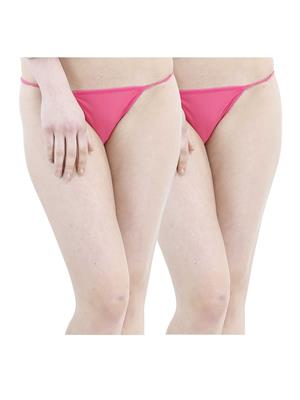 Muquam Pi-12 Pink Women G-String Panty Set Of 2