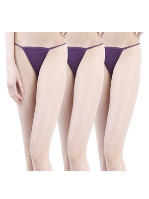 Muquam Pp-13 Purple Women G-String Panty Set Of 3