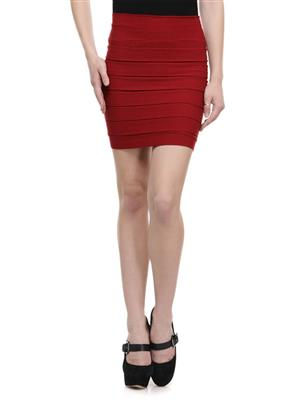 N-Gal NAY107 Maroon Women Skirt