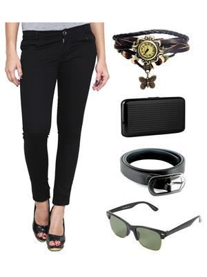 Ansh Fashion Wear NEW-RP Black Women Chinos With Watch, Belt, Sunglass & Card Holder